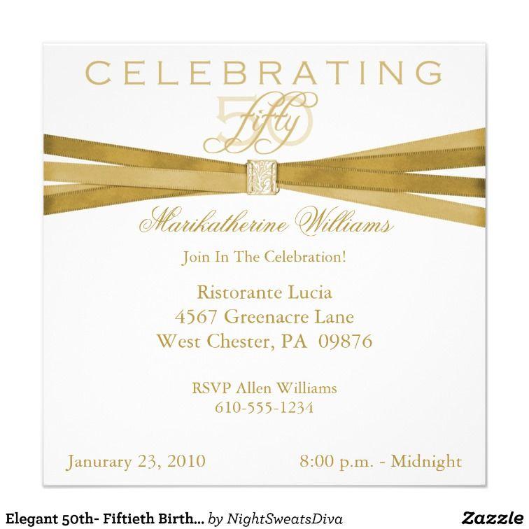 elegant 50th birthday invitations   Elegant 50th Fiftieth Birthday ...