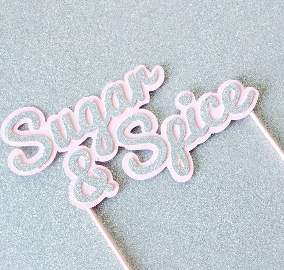 Cake topper Silver Glitter and Pink Sugar and Spice by PoshSoiree