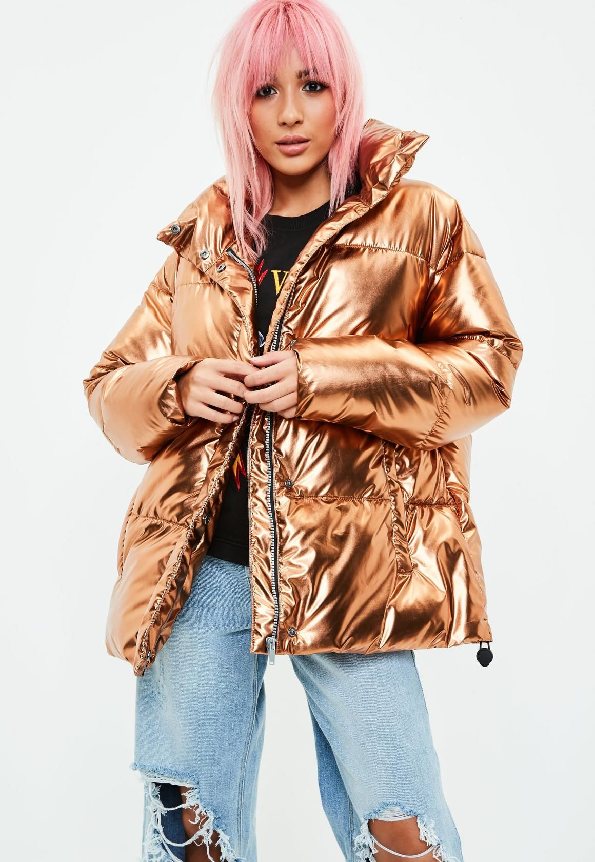 a45d3638e Gold Metallic Puffer Jacket | Missguided | FASHION in 2019 | Puffer ...