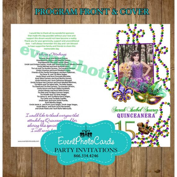 Set Of 100 Quinceanera Or Sweet 16 Program By EventPhotoCards