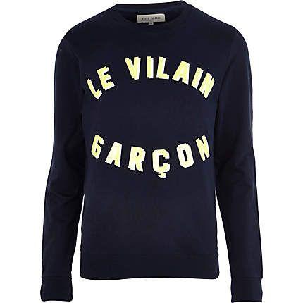 Navy le vilain garcon sweatshirt £8 #Rimenswear