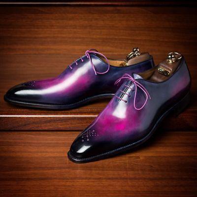 Handmade Leather Purple Patina Oxfords for Men Custom men formal dress shoes  | eBay -   17 dress Outfits shoes ideas