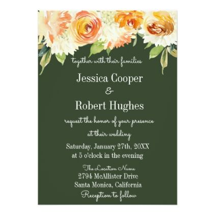 Watercolor floral forest green wedding invitation stopboris Image collections