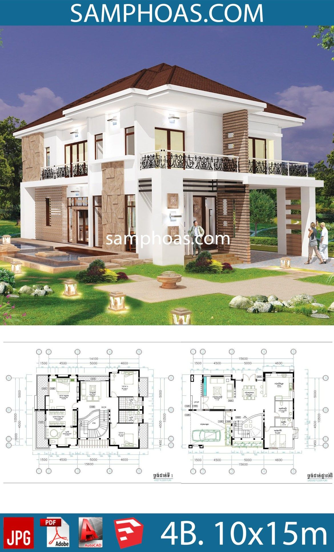 4 Bedroom Home Plan Full Exterior And Interior 10x15 6m Samphoas Plansearch Coastal House Plans House Designs Exterior House Plans