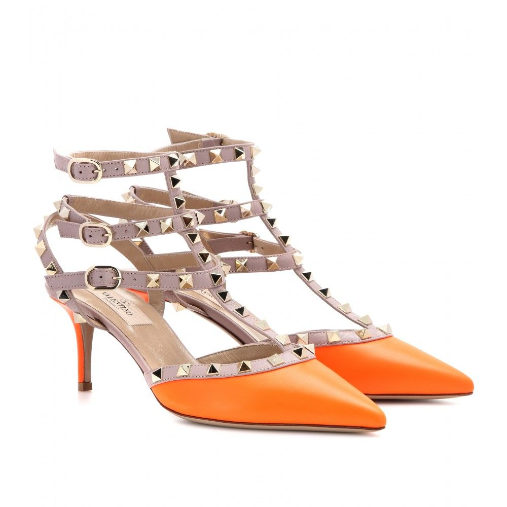 ceb61e084558 Valentino Rockstud Leather Kittenheel Pumps in Orange