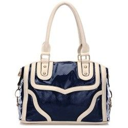 LACOLE Navy with Beige Accents Top Double Handle Doctor Style Office Tote Bowler Satchel Handbag Purse Convertible Shoulder Bag