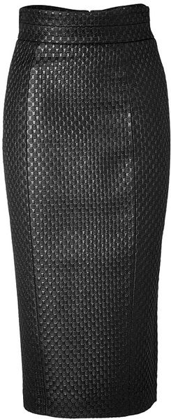 L Wren Scott High Waisted Pencil Skirt In Black Lyst Faldas