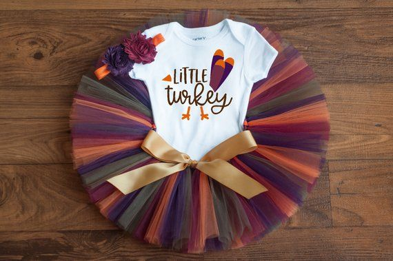 Little turkey outfit Autumn little turkey first thanksgiving tutu fall outfit baby girl thanksgiving outfit baby outfit newborn girl tutu