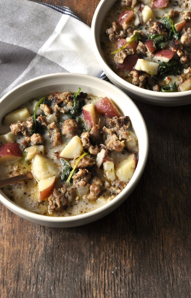 Italian Sausage, Potato and Kale Soup (An Olive Garden