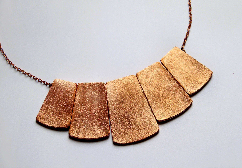 Big copper bib necklace statement jewelry large necklace bib copper