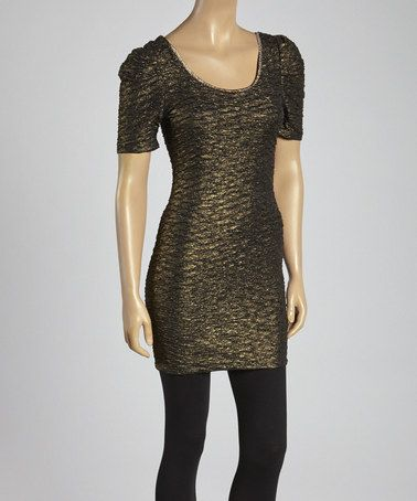 9fae9f98f06c Another great find on  zulily! Black   Gold Scoop Neck Dress  zulilyfinds
