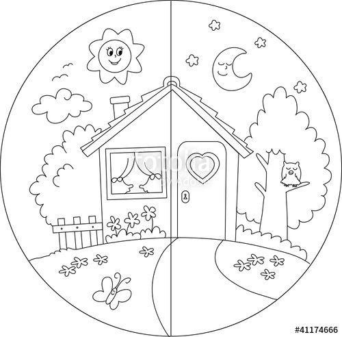 Vettoriale casa di campagna giorno e notte da colorare - Presidenti giorno colorare le pagine da colorare ...