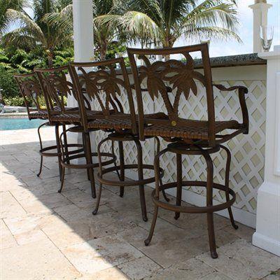 Hospitality Rattan 4 PC SET9106109BRZB Coco Palm Patio Swivel – Outdoor Bar Chairs Swivel