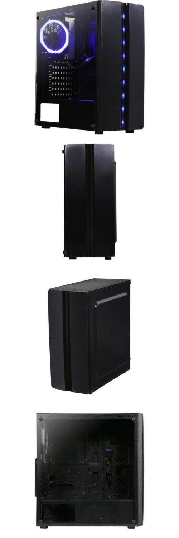 DIYPC Diamond-F1 Black USB3.0 Steel// Tempered Glass ATX Mid Tower Gaming Compute