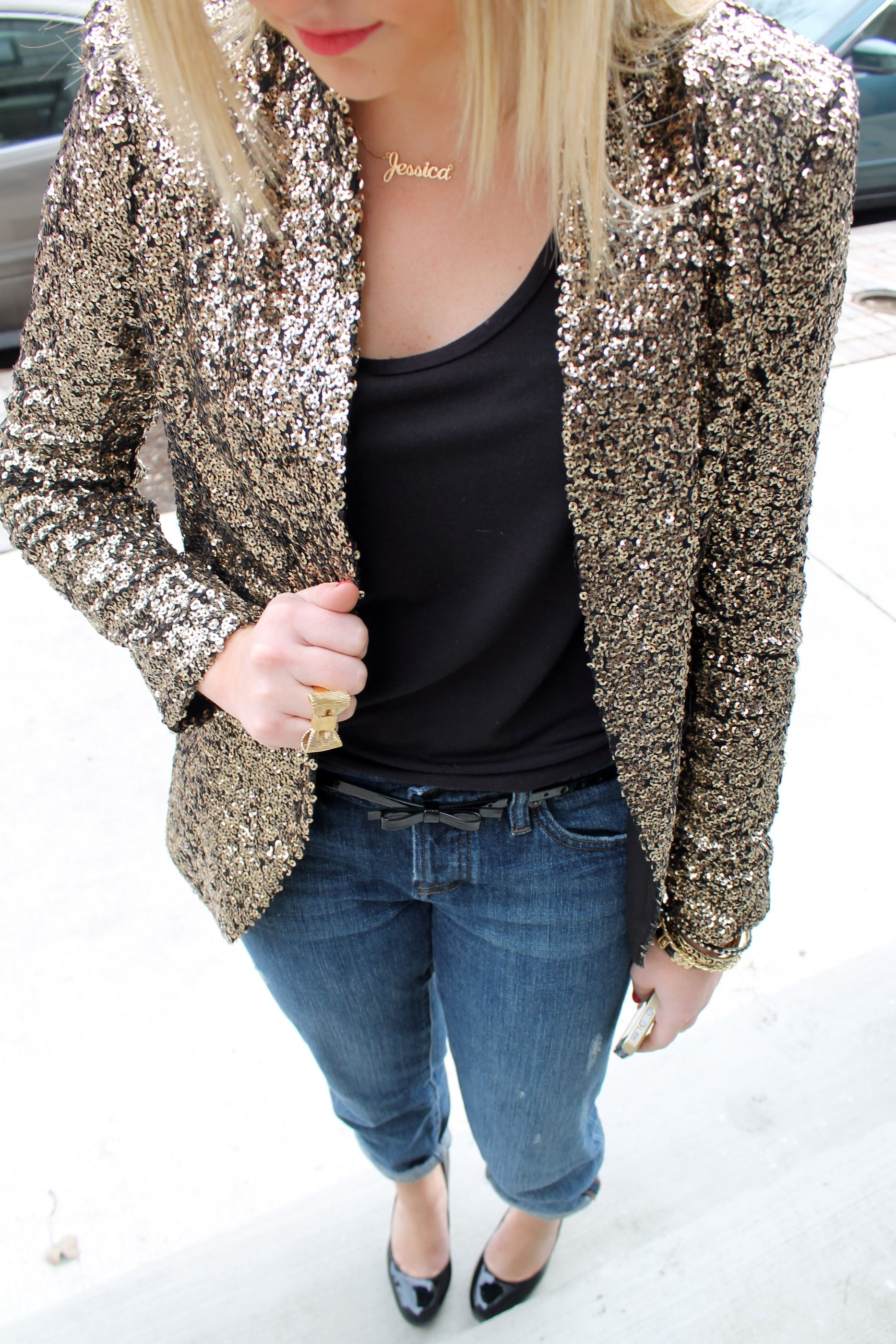 11dfe51b Sequin Soiree | Bling! Bling! | Gold sequin jacket, Sequin jacket ...