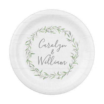 Rustic Wood & Botanical Leaves Wreath Wedding Paper Plate | Wedding ...