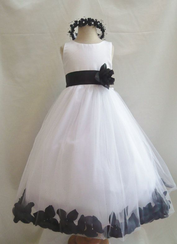 Flower Girl Dress WHITE w/ Black PETAL Wedding Children Easter ...