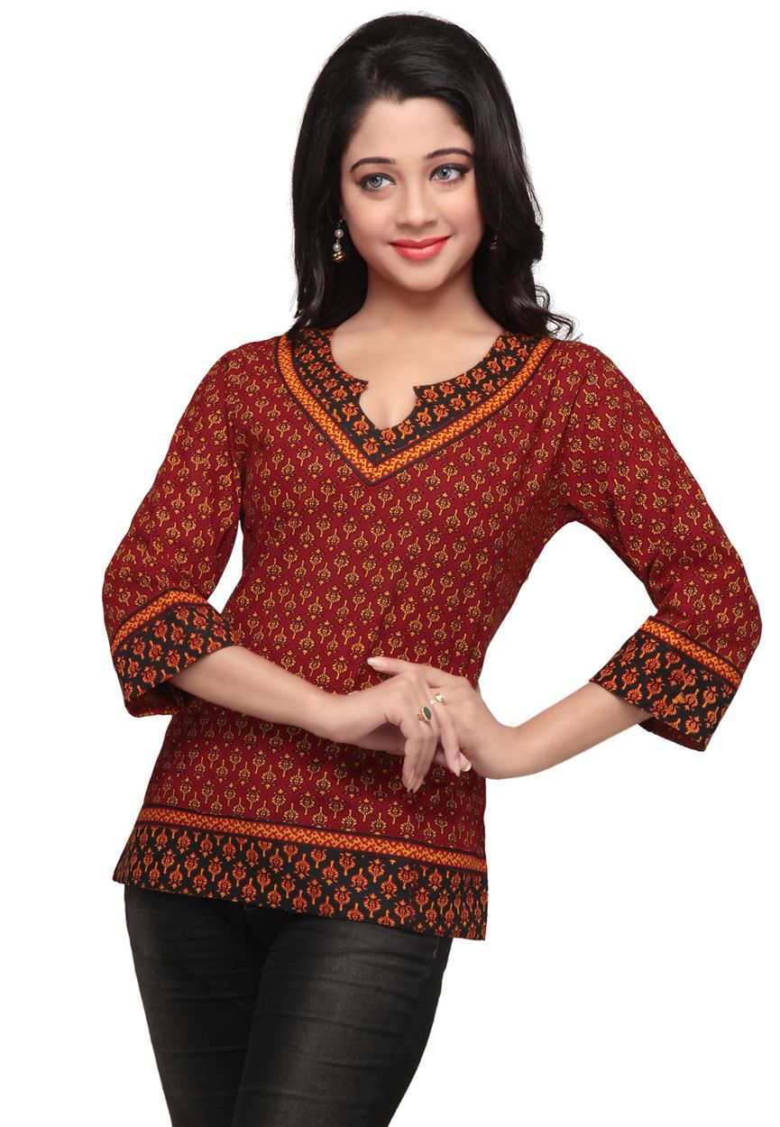 Red Cotton Readymade Top