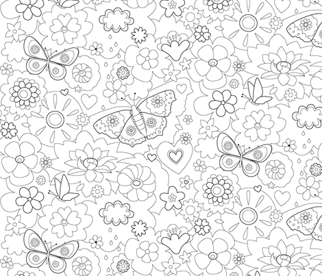 wallpaper floral coloring book fabric by haka-design on ...