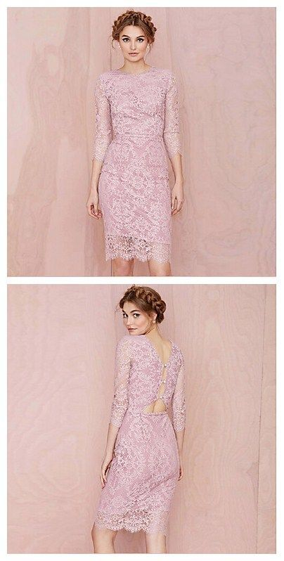 How pretty is the color of this lace dress?! Cheery pink, love it ...