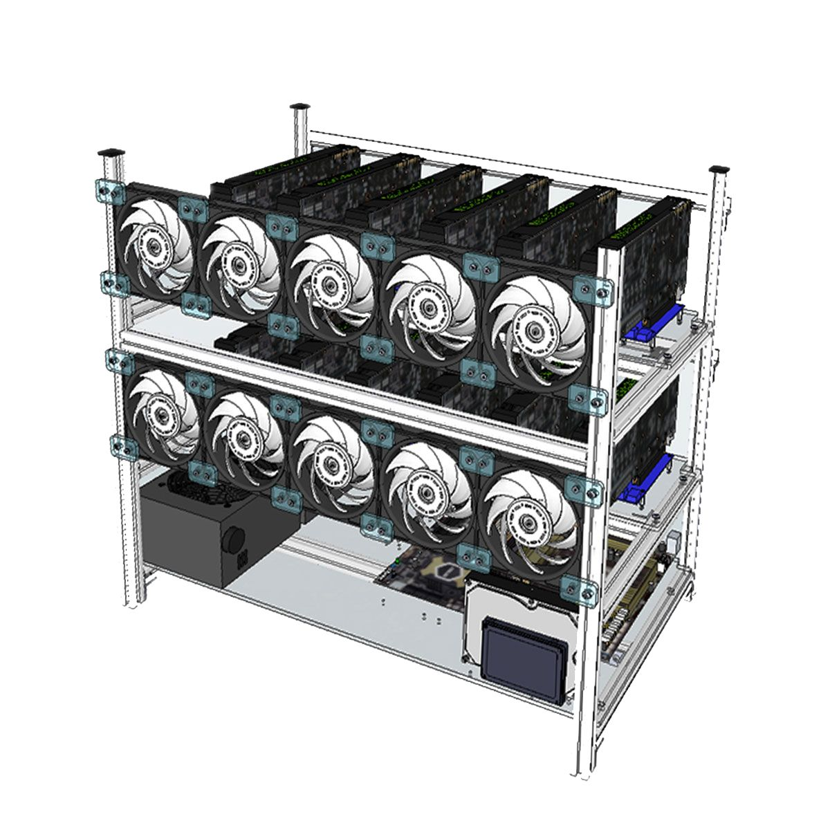 Aluminum Open Air Mining Rig Stackable Frame Case With 10 Led Fans For 12 Gpu Eth Computer Components From Computers Office On Banggood Com Green Led Led Ebay