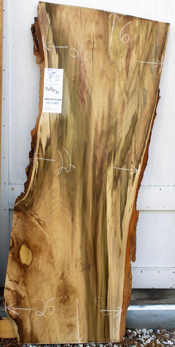 Tulip Rainbow Poplar Natural Live Edge Wood Slab Tabletop