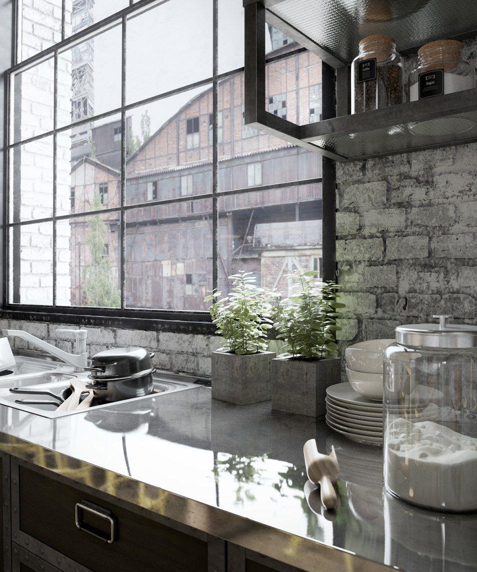 La Cuisine Du Dimanche Esprit Industriel Loft Kitchen Kitchen