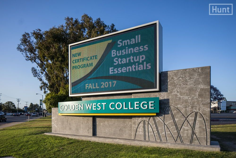 Signage Master Plan For Golden West College In Huntington Beach Includes Dynamic Digital Monument Signs With Cement Relief Parking Identifiers And