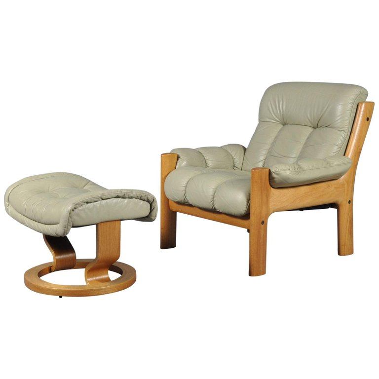 Terrific Montana Leather Lounge Chair And Ottoman By J E Ekornes Pabps2019 Chair Design Images Pabps2019Com