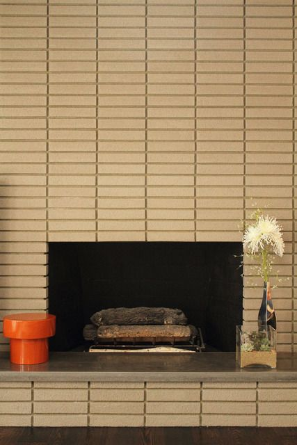 Mid-Century Mod fireplace. Stacked ledger stone as updated version ...