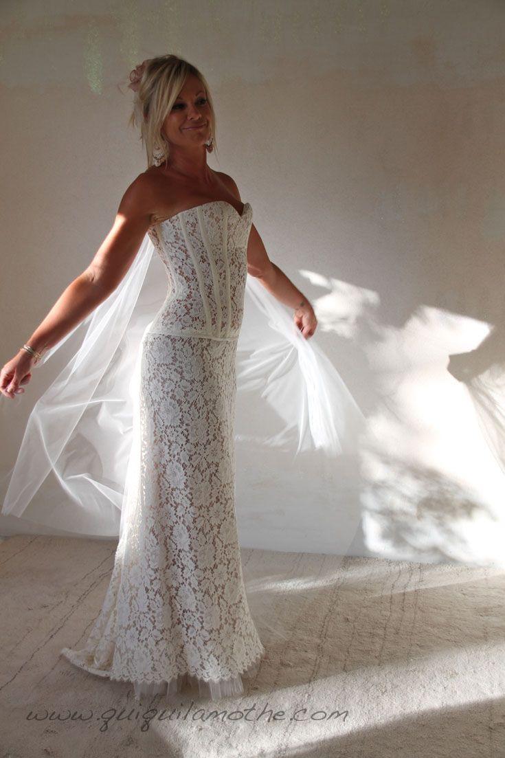 Robe de mariee bustier transparent