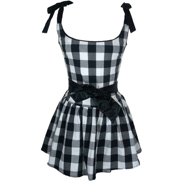 ATTEMPT BLK CHECK DRESS ($52) ❤ liked on Polyvore