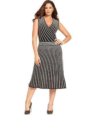 Calvin Klein Plus Size Dress Sleeveless Contrast Striped Sweater