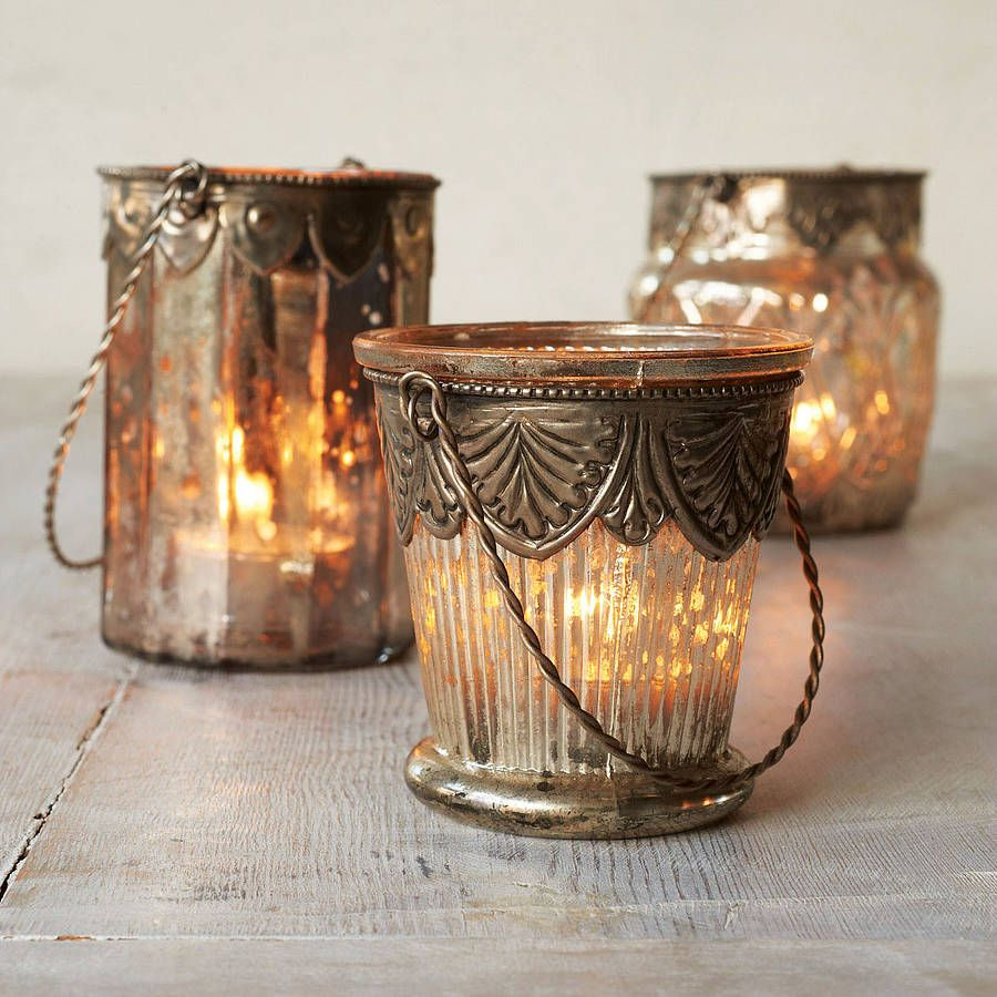 mercury glass tea light holders by the orchard pretty house stuff pinterest glass tea. Black Bedroom Furniture Sets. Home Design Ideas