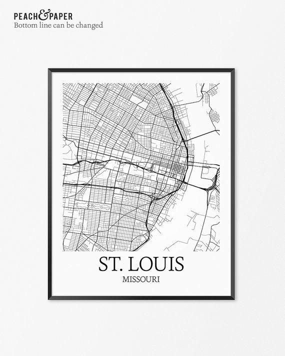 St Louis Map Art Print St Louis Poster Map of St Louis Decor St