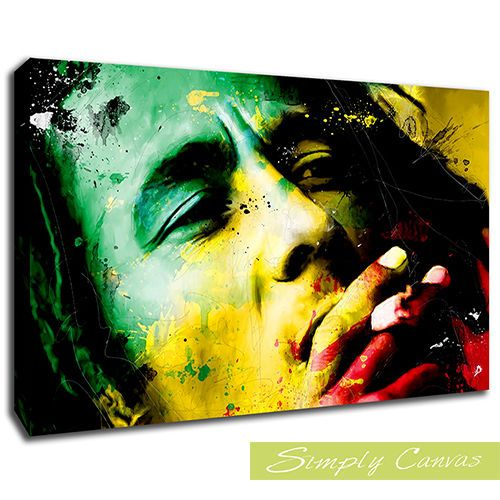 S-9920-BOB MARLEY COLOURS-Icons Canvas Art Wall Print (A2 Size ...