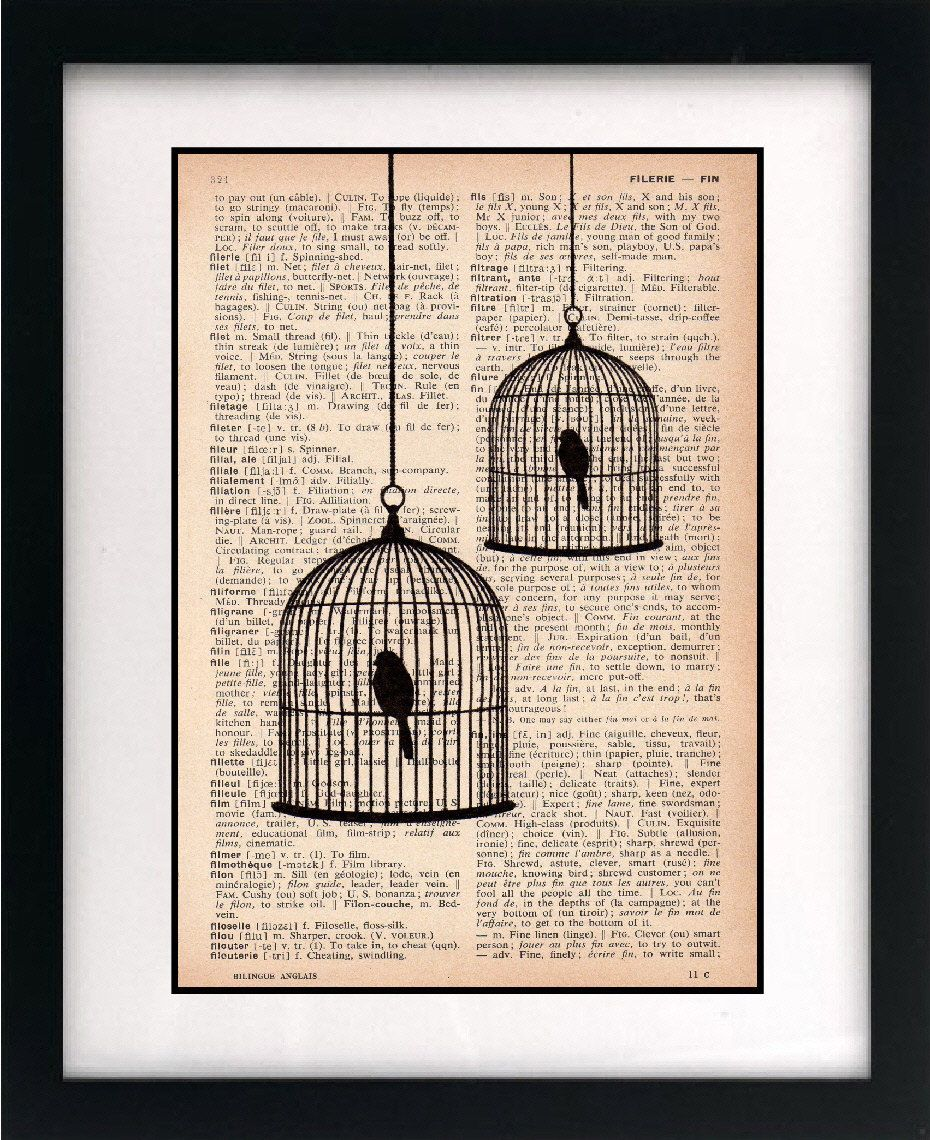 birdcage print birdcage art print vintage dictionary print recycled book page upcycled