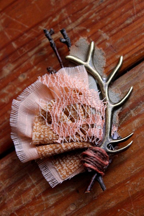 Rustic Country Boutonniere Antler Lace & Leather Wedding by dustyLuck on Etsy