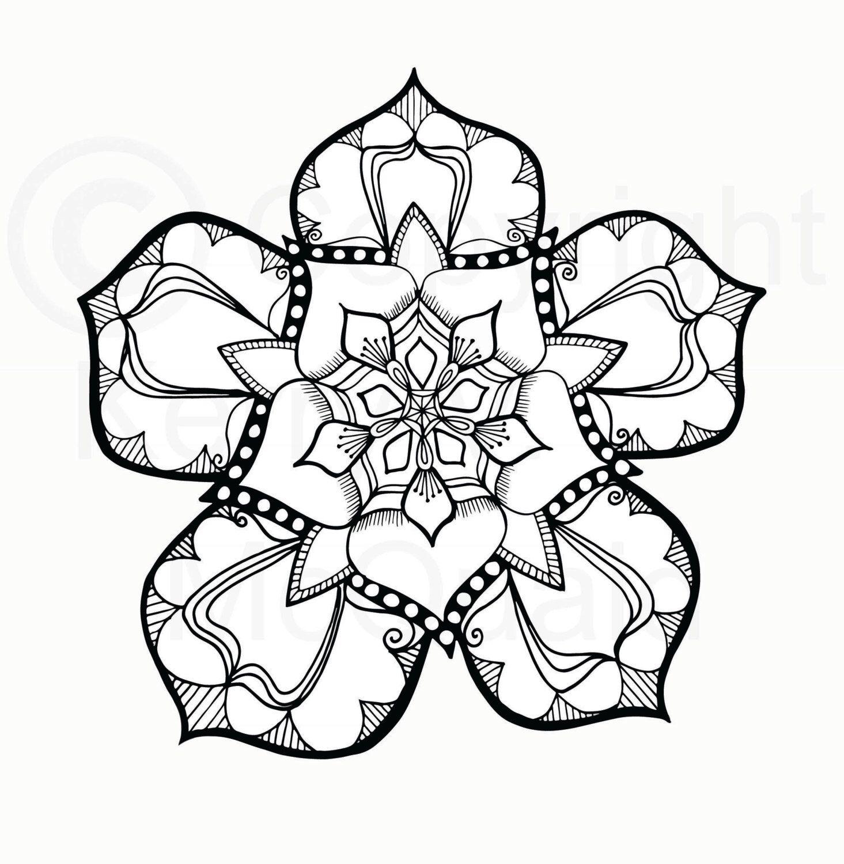 instant pdf download coloring page hand drawn tudor rose mandala