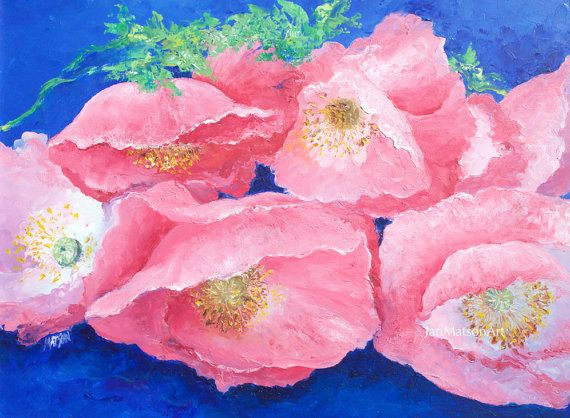 Poppies Painting, FRAMED, pink poppies, Flower paintings,living room ...