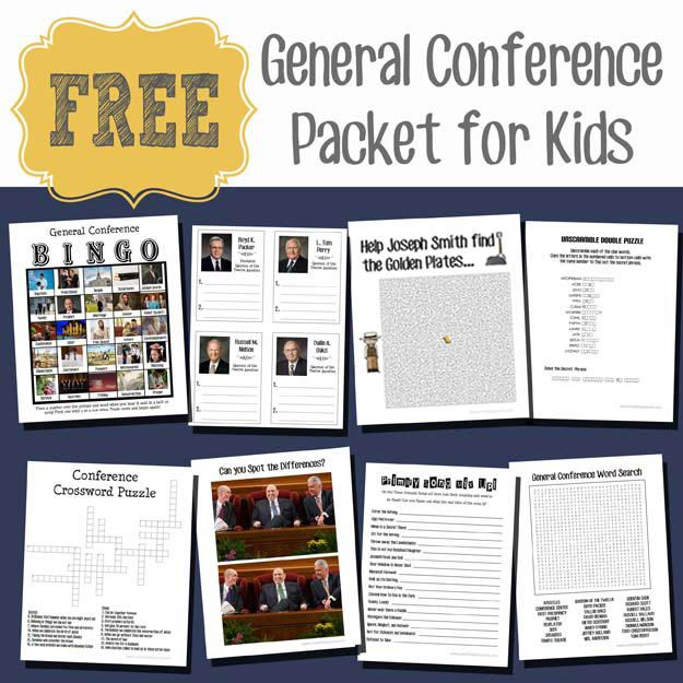 General Conference Packet for Kids | General conference, Free
