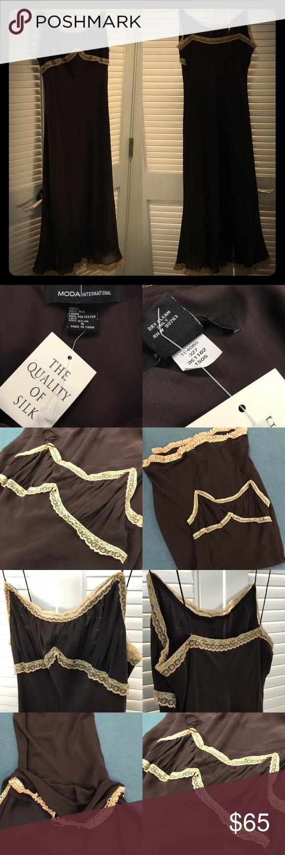 Vintage nwt moda international silk u lace dress nwt my posh