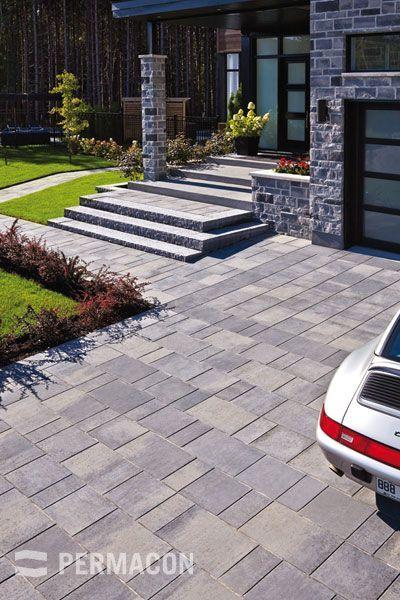terrasse en pave autobloquant home decor pinterest pav s terrasses et garage. Black Bedroom Furniture Sets. Home Design Ideas