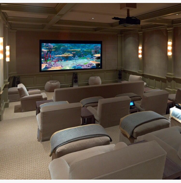 Cozy Home Theater: Love The Chairs, Ottomans, And Blankets. Warm And Cozy