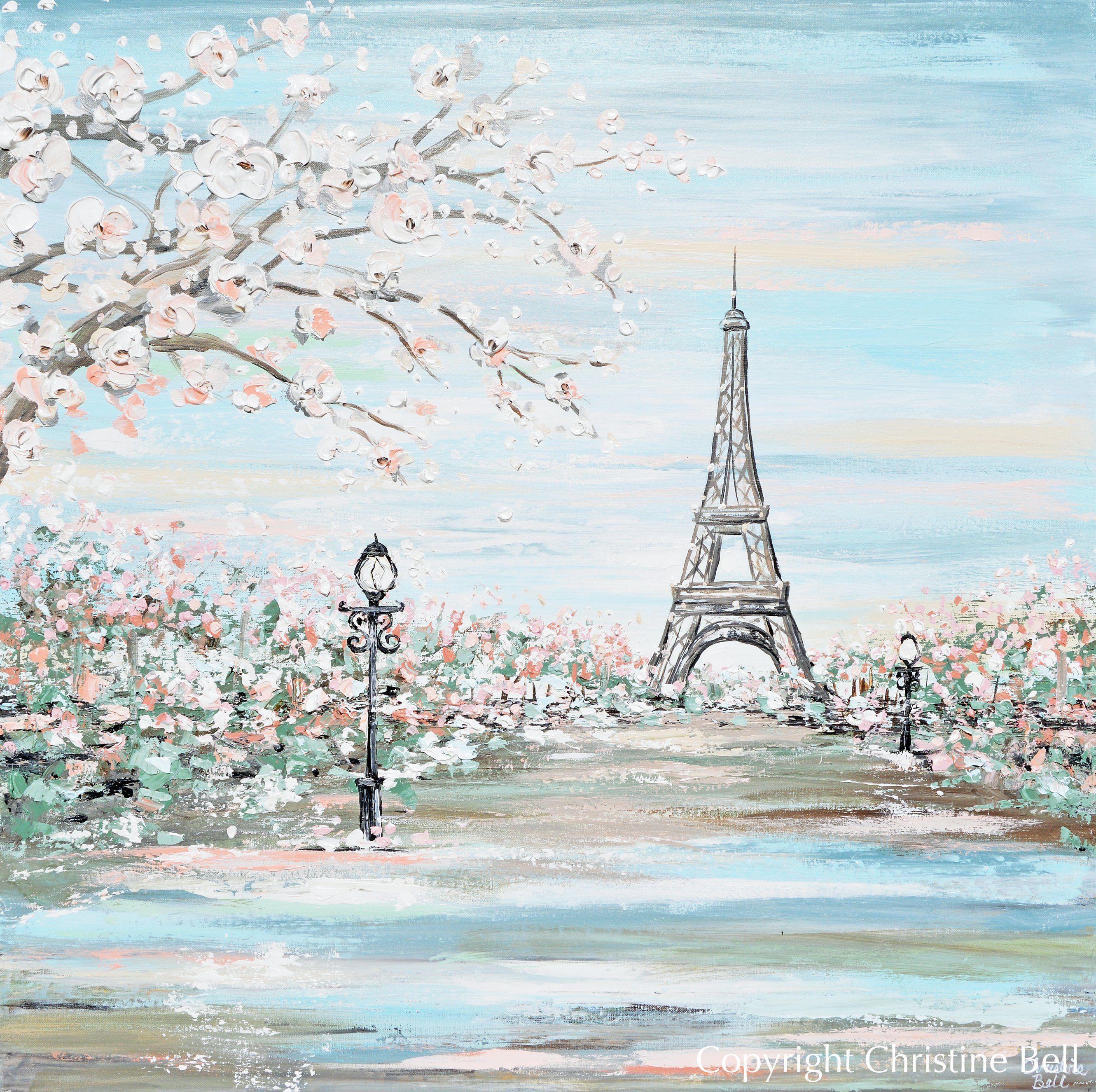 Amour De Paris Original Art Paris Painting Eiffel Tower Romantic Cherry Trees Textured Cityscape In 2021 Paris Painting Giclee Print Abstract Wall Art Canvas Prints