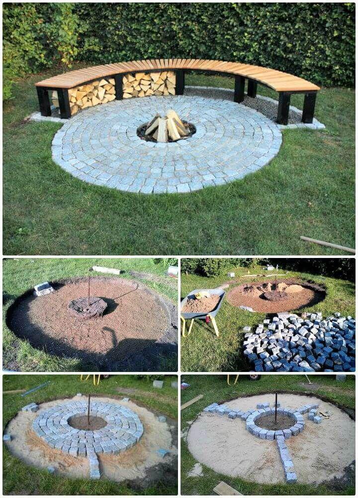 DIY Garten Kamin mit Sitzbank - 62 Feuerstelle Ideen zu DIY Günstige Feuerstell..., #DIY #di...