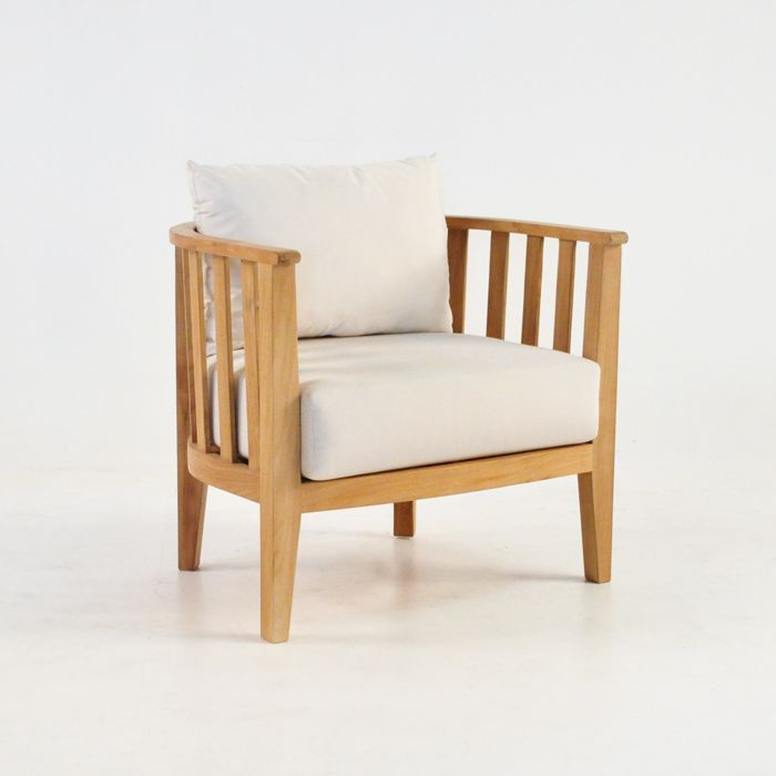 An A Grade Teak Marine Tub Chair Architectural style meets plush