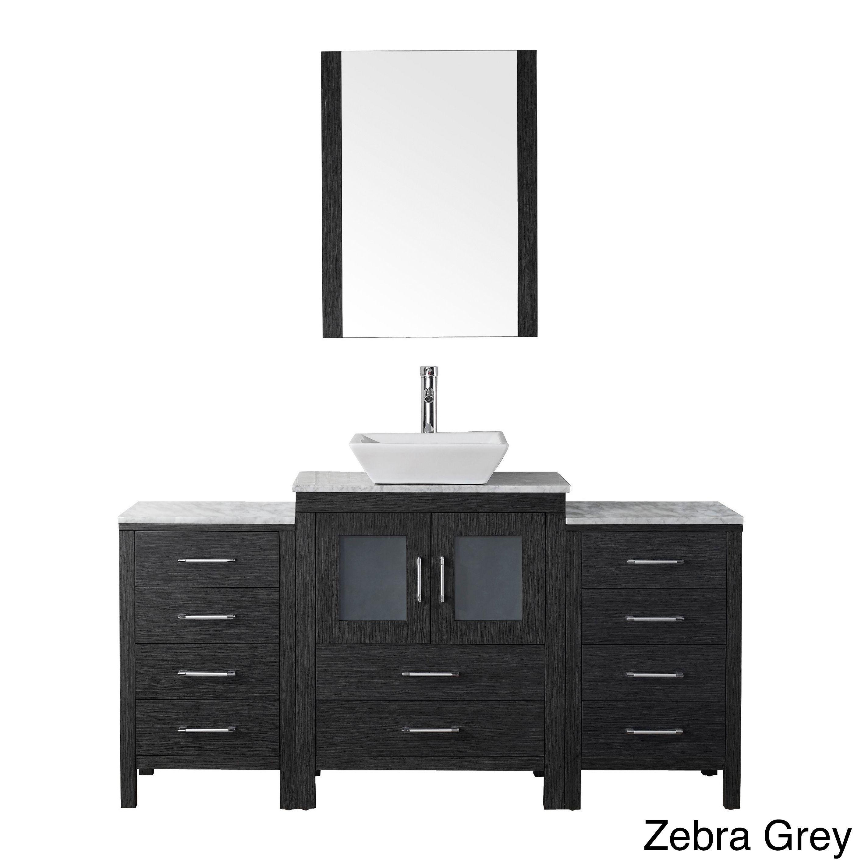 Virtu Usa Dior 64 Inch White Marble Top Single Bathroom Vanity Set