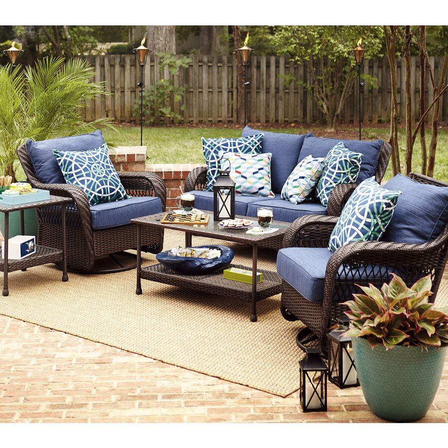 Lowes Glenlee set Allen Roth navy cushions screened porch