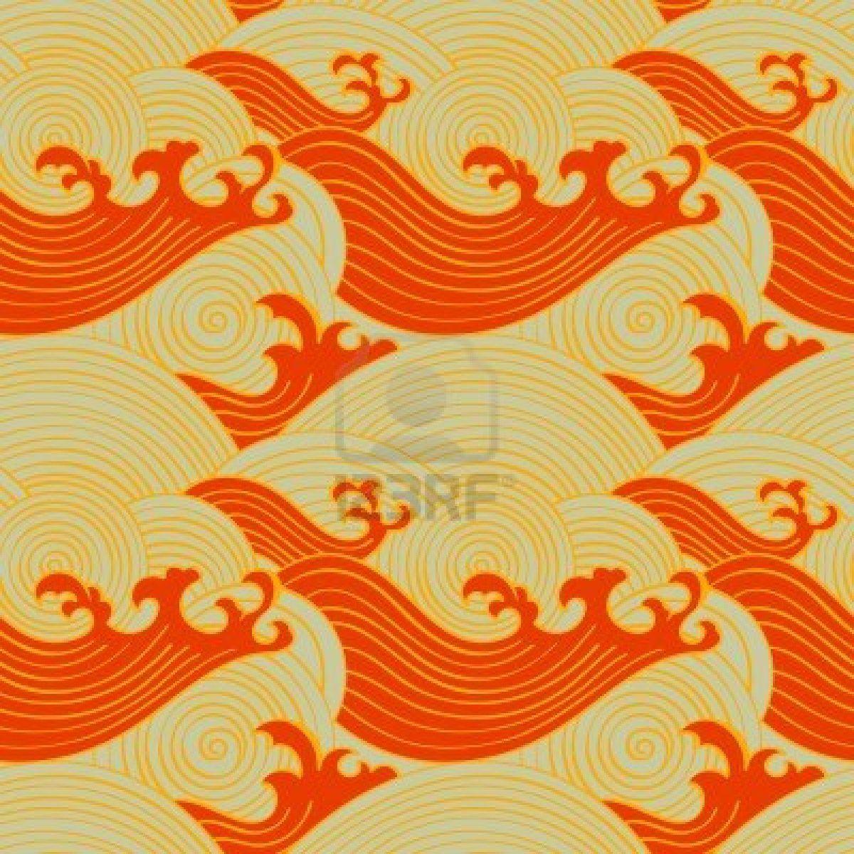 Stock Photo Japanische Muster Muster Illustration Und Warme Farben